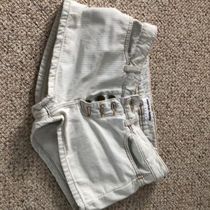 American Apparel Striped Denim Shorts